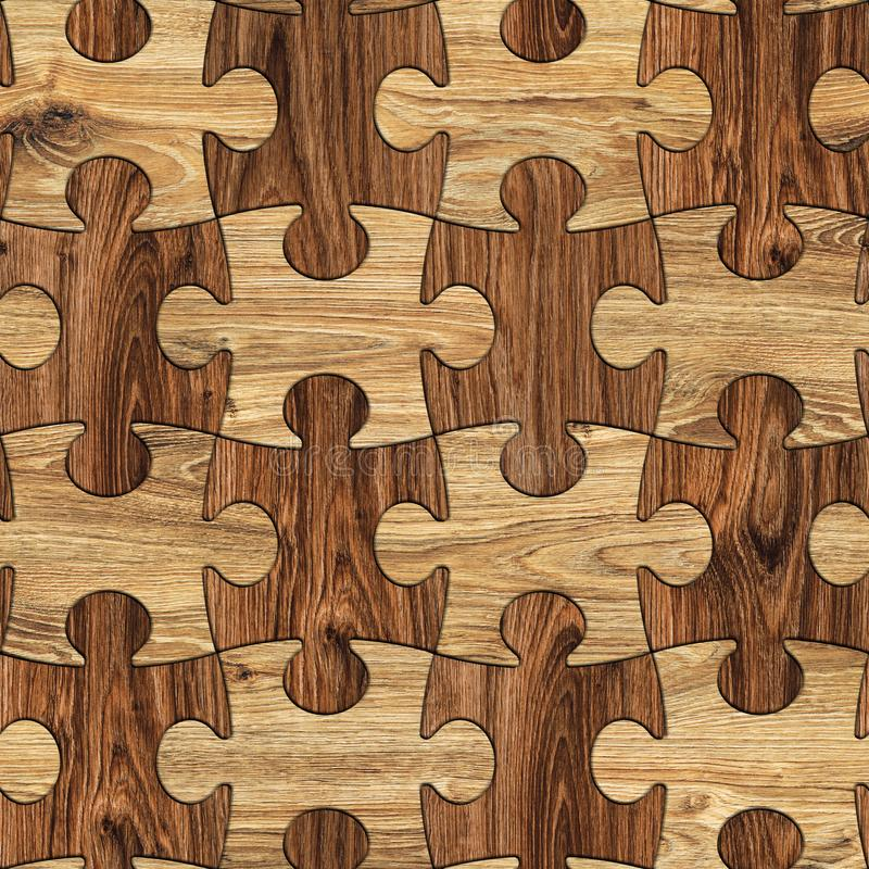 Puzzle Wood Seamless Background, Puzzled Brown Wooden Texture royalty free illustration