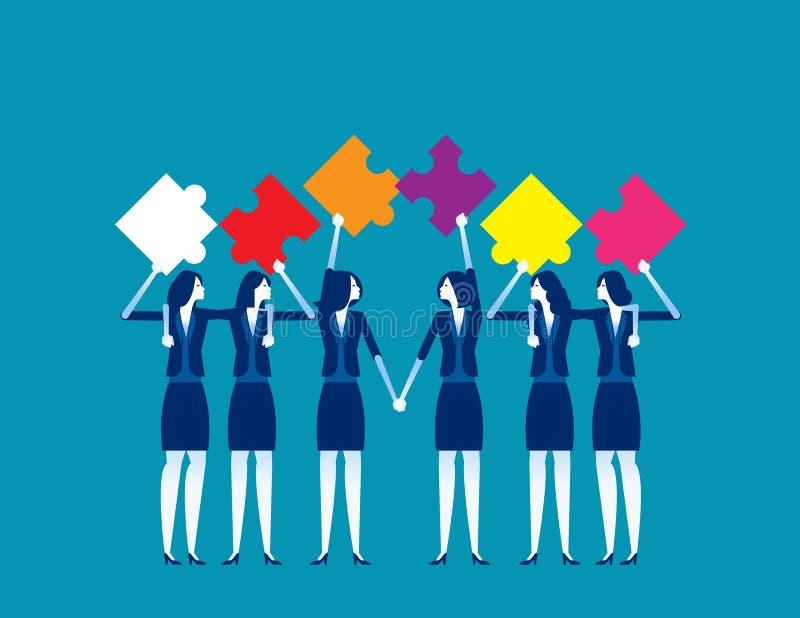 Puzzle y trabajo en equipo Concepto ilustrativo de vectores de negocio, Asociación y accionista, Colega y Amigo ilustración del vector