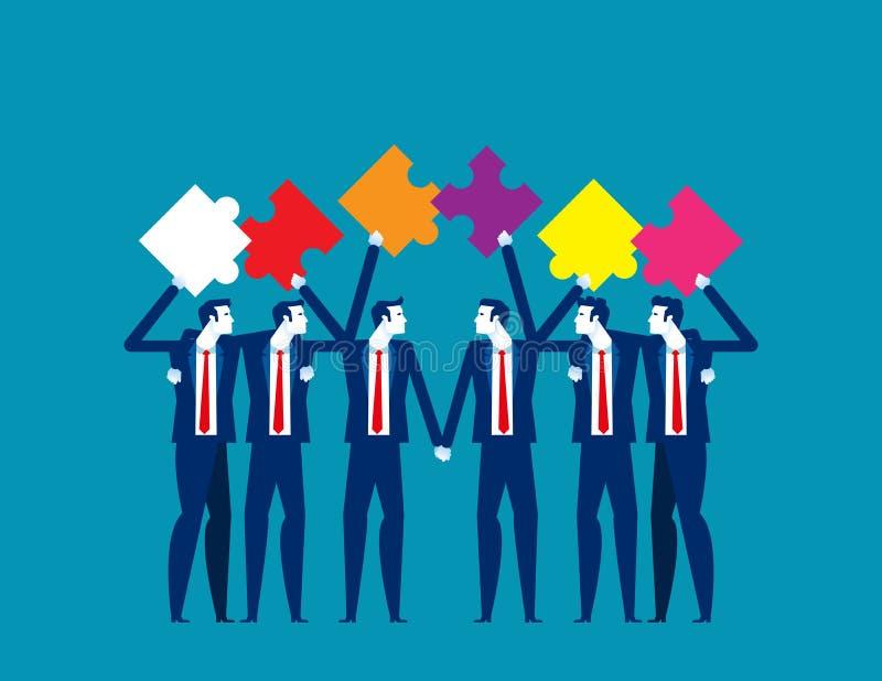 Puzzle y trabajo en equipo Concepto ilustrativo de vectores de negocio, Asociación y accionista, Colega y Amigo stock de ilustración