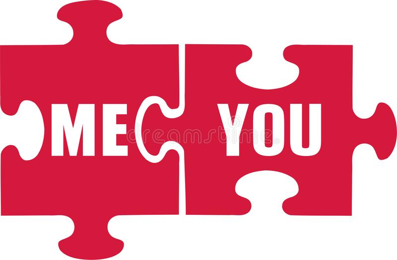 Puzzle with you and me vector illustration
