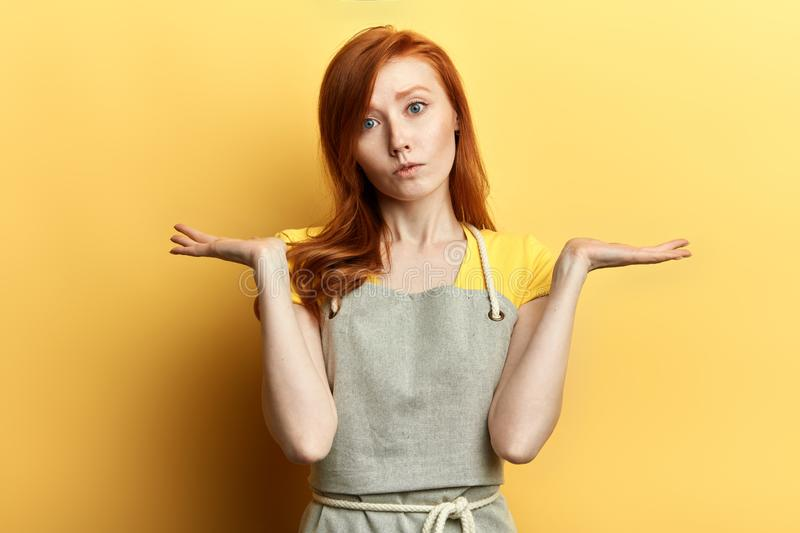 Puzzled hesitant girl with long red hair in gray apron and T-shirt. Puzzled hesitant garderner with long red hair in gray apron and T-shirt, shrugs shoulders royalty free stock photo