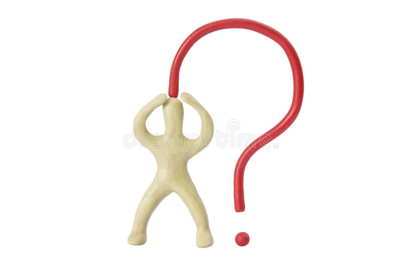 A puzzled man from plasticine and a question mark. Little man from plasticine and a question mark on isolated white background stock images