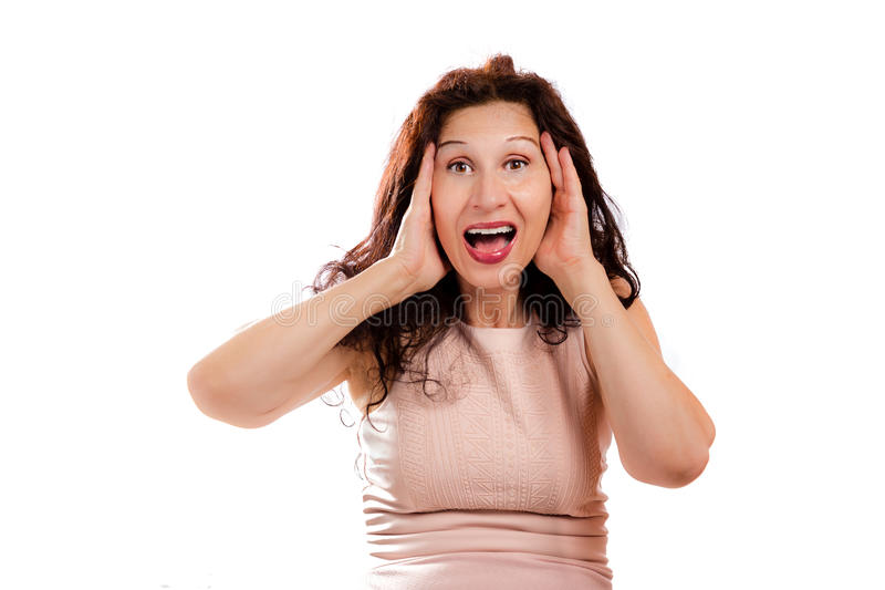 Puzzled mature woman shouting royalty free stock images
