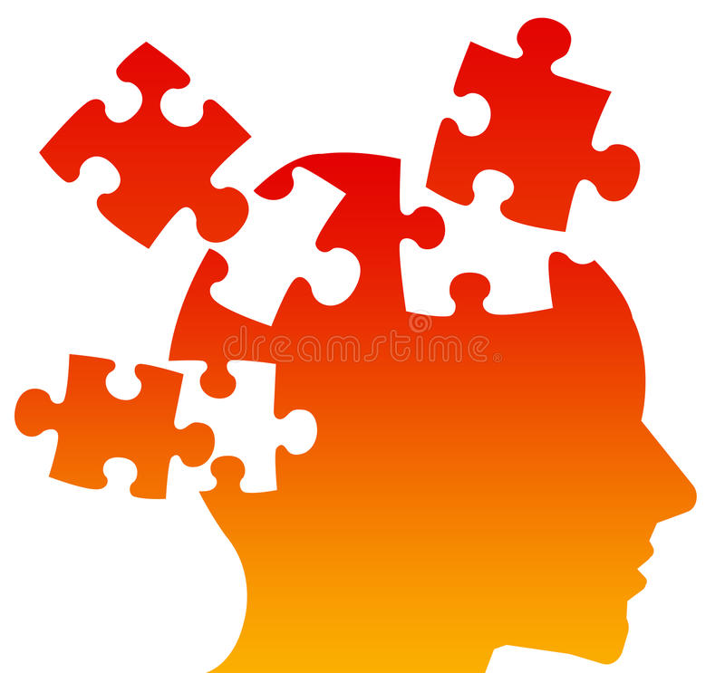 Puzzled mind. Trying to put the pieces together and finding solutions royalty free illustration