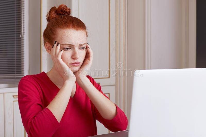 Puzzled young female student prepares for exams during last day, reads material from laptop computer, tries to remember something, royalty free stock photos