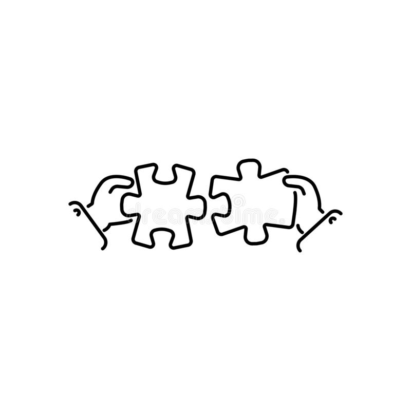 Puzzles connect in hands line, linear vector icon, sign, symbol. Business matching concept. Connecting elements puzzle in hand royalty free illustration