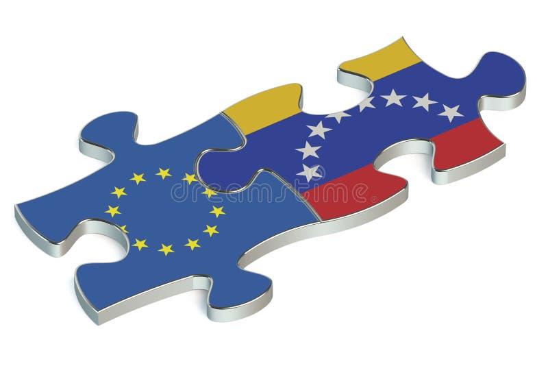Puzzles du Venezuela et de l'UE des drapeaux illustration libre de droits