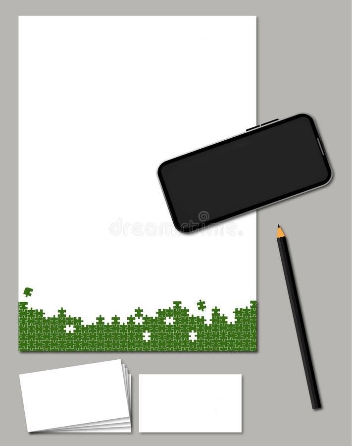 puzzles et maquette pour l'en-tête de lettre social de carte de Logo Business de paquet de médias illustration stock