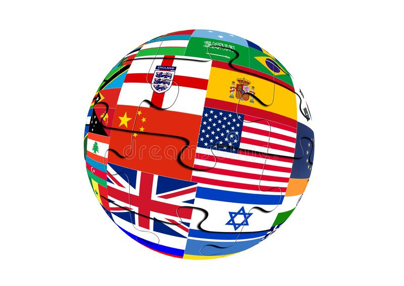 Puzzles Globe with world flags stock photography