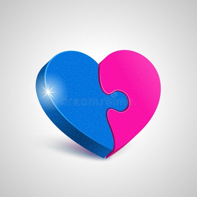 Puzzles of love. Two combined together puzzle elements form a whole heart. Harmony in love concept vector illustration