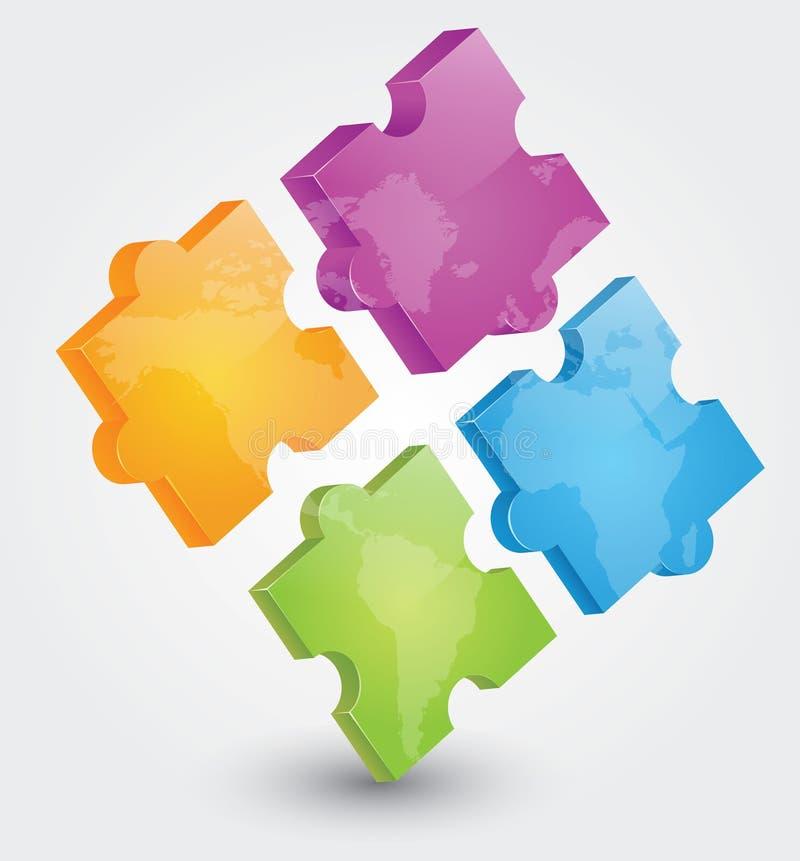 Puzzlespiel 3D stock abbildung