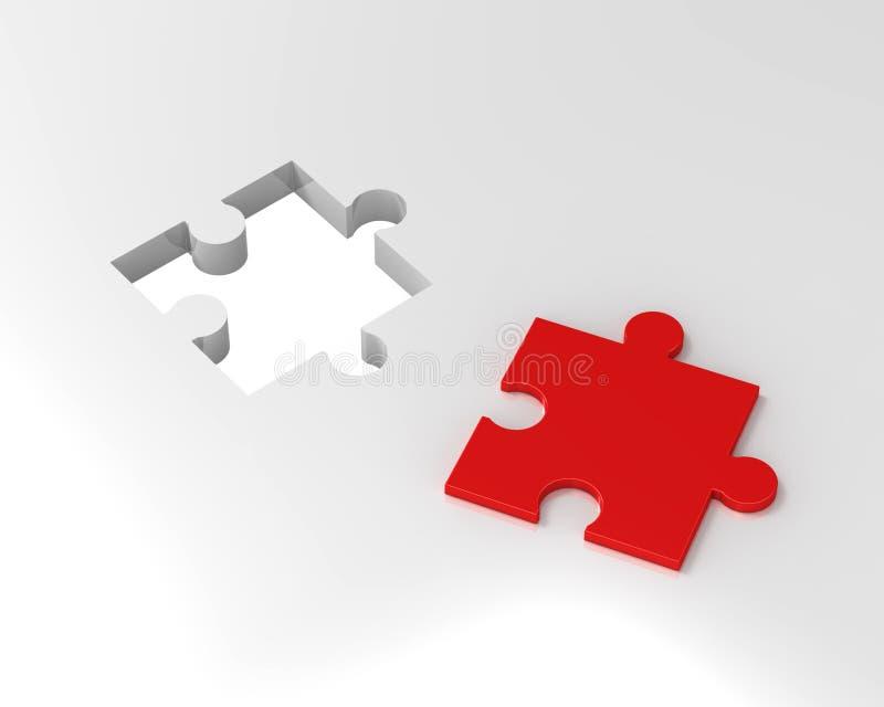 Puzzlespiel 3d getrennt auf weißem Hintergrund. lizenzfreie abbildung