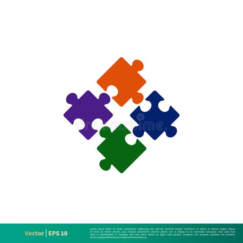 Puzzlespiel-bunter Stück-Ikonen-Vektor Logo Template Illustration Design Vektor ENV 10 lizenzfreie abbildung