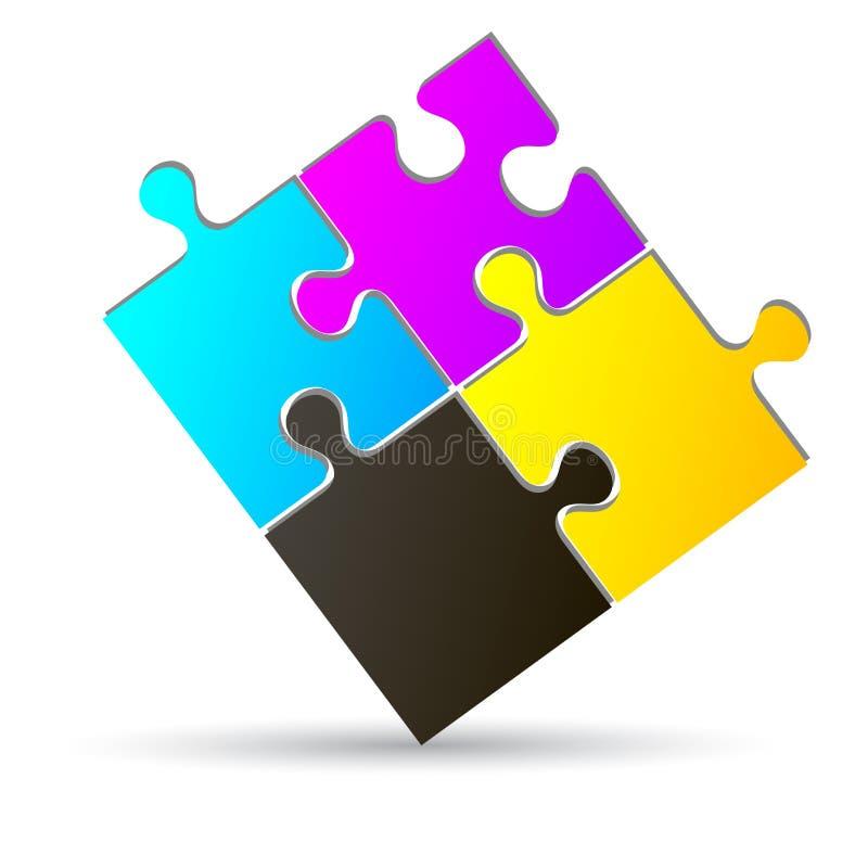 Puzzlespiel cmyk lizenzfreie abbildung
