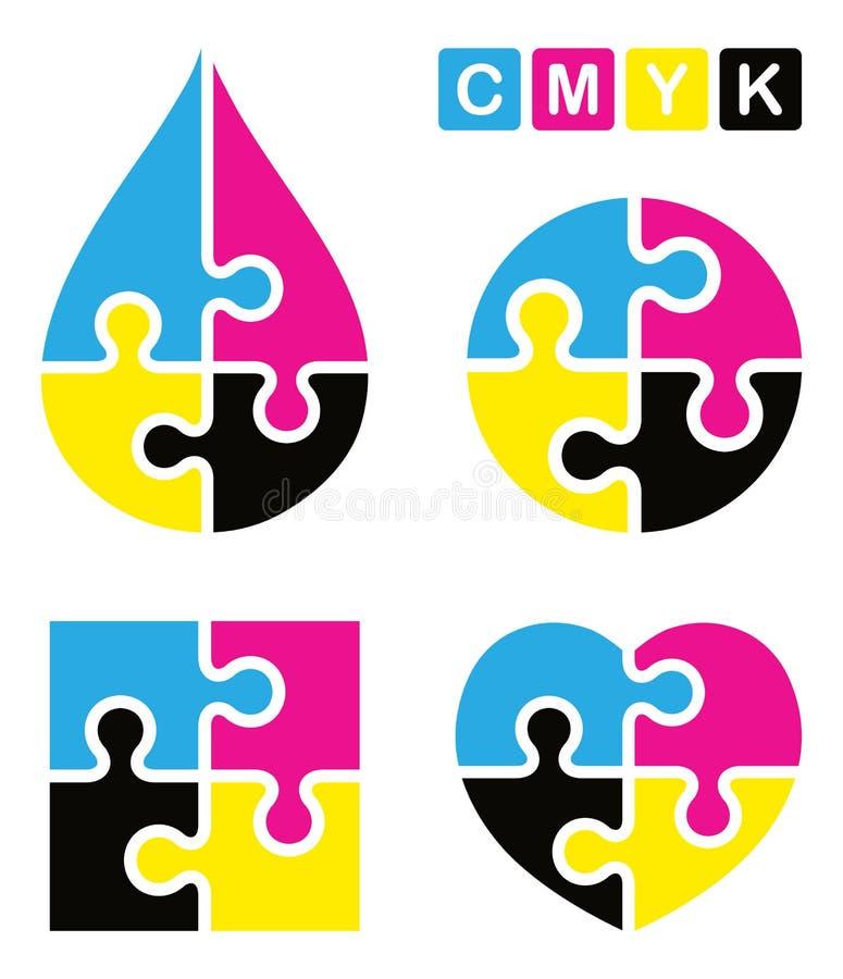 Puzzlespiel cmyk Logo stock abbildung