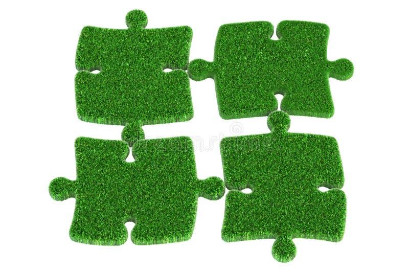 Puzzlespiel des grünen Grases, Wiedergabe 3D stock abbildung