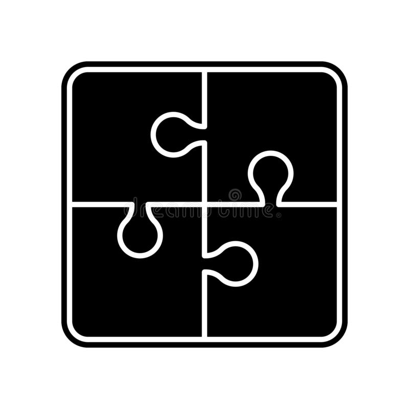 Puzzlespiel-Diagrammikone mit vier St?cken Element der Bildung f?r bewegliches Konzept und Netz apps Ikone Glyph, flache Ikone f? lizenzfreie abbildung