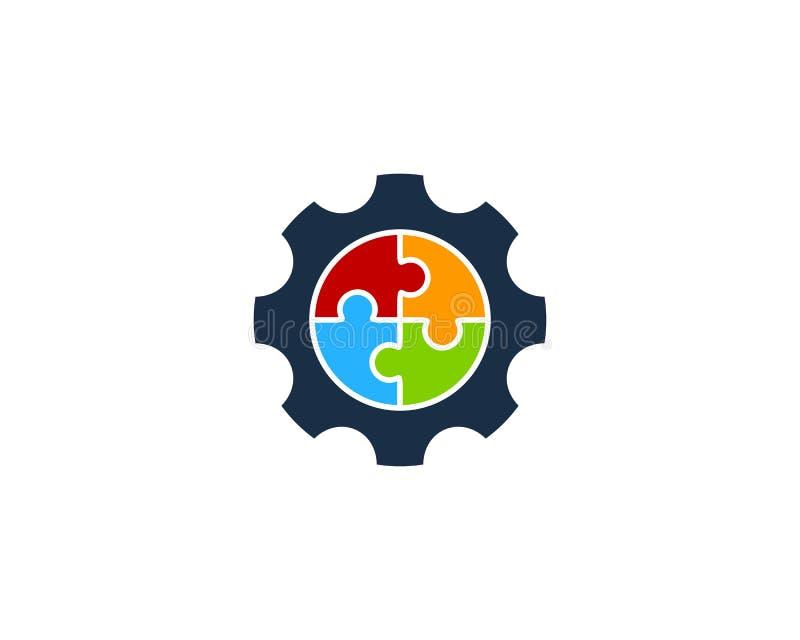 Puzzlespiel-Gang-Ikone Logo Design Element lizenzfreie abbildung