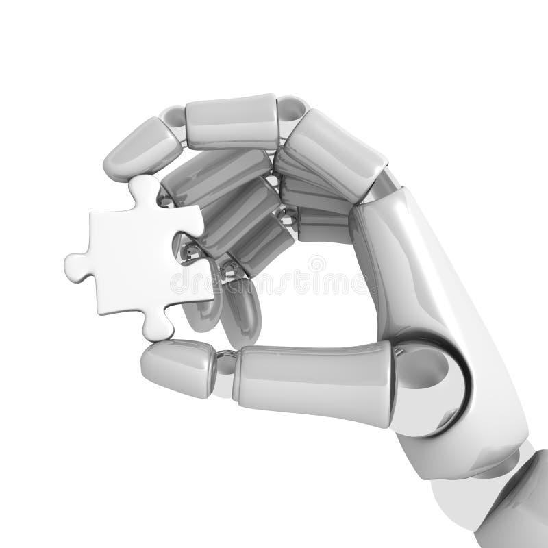Puzzlespiel im robohand stock abbildung
