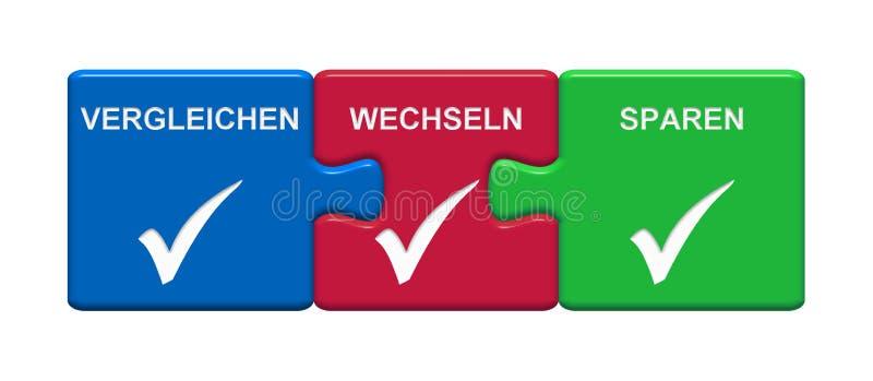 3 Puzzlespiel-Knöpfe, die das Darstellen Änderung vergleichen, retten Gelddeutsches lizenzfreie abbildung