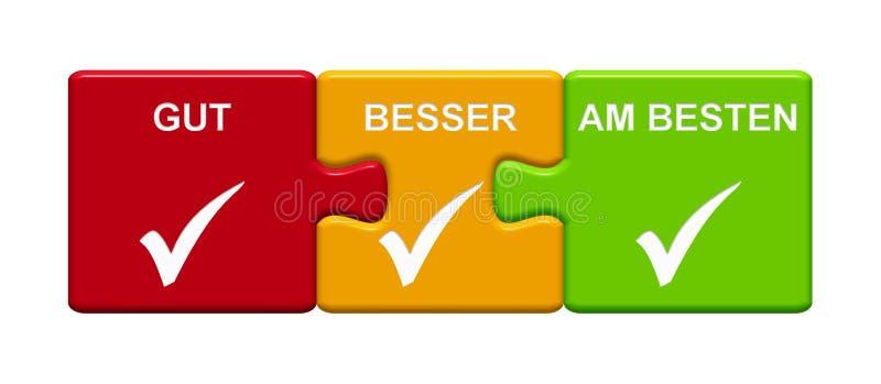 3 Puzzlespiel-Knöpfe, die gutes besseres bestes Deutsches zeigen vektor abbildung
