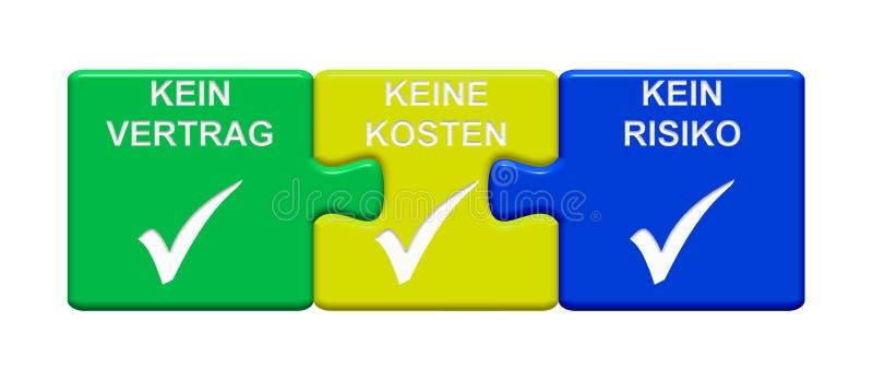 3 Puzzlespiel-Knöpfe, die keinen Vertrag kostet zeigen nicht, kein Risikodeutsches stock abbildung