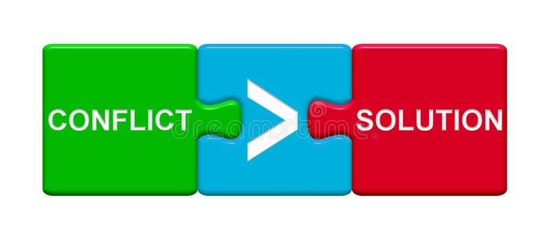 3 Puzzlespiel-Knöpfe, die Konflikt und Lösung zeigen stock abbildung