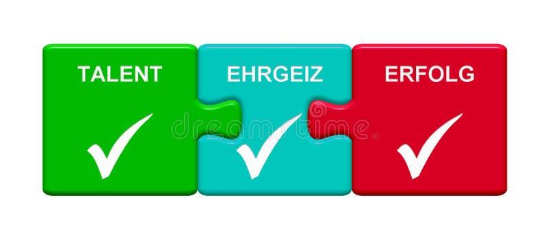 3 Puzzlespiel-Knöpfe, die Talent-Ehrgeiz-Erfolgsdeutsches zeigen stock abbildung