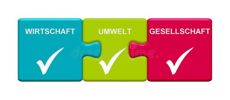 3 Puzzlespiel-Knöpfe, die Wirtschafts-, Umwelt- und Gesellschaftsdeutsches zeigen lizenzfreie abbildung