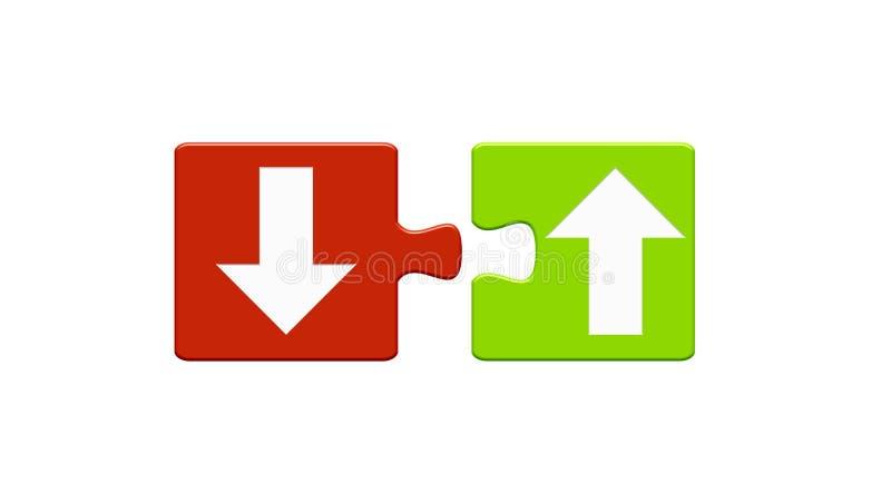 2 Puzzlespiel-Knöpfe: Pfeil auf und ab stock abbildung