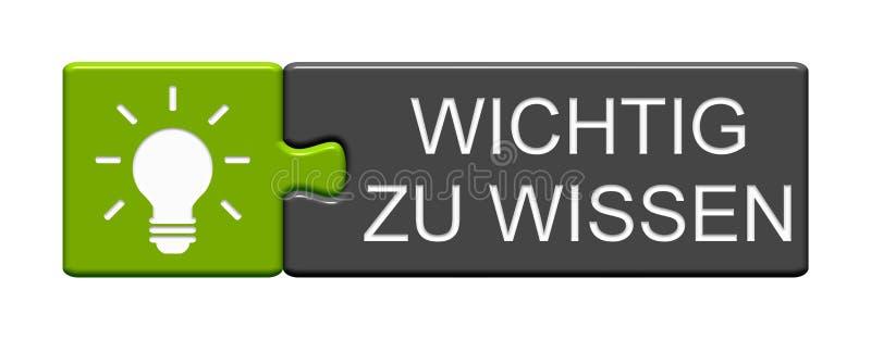 Puzzlespiel-Knopf: Wichtig, deutsch zu sprechen lizenzfreie abbildung