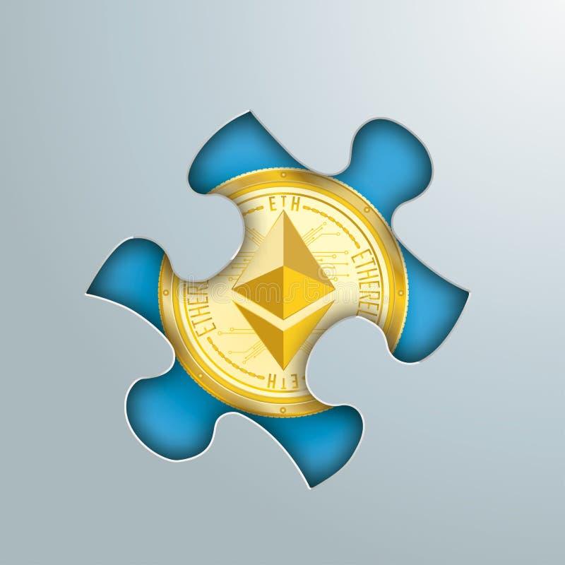 Puzzlespiel-Loch goldenes Ethereum vektor abbildung