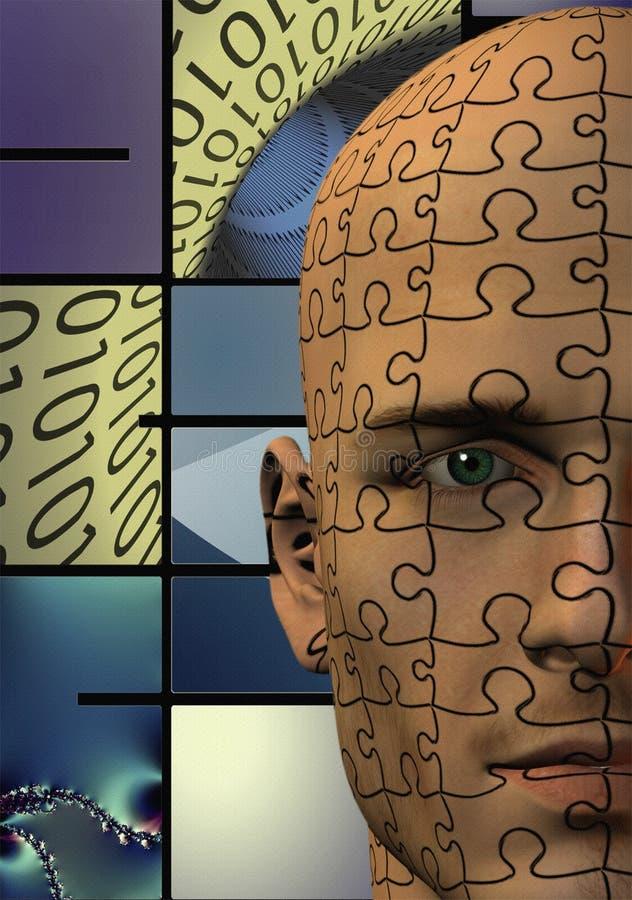 Puzzlespiel-Mann-Zweiheit lizenzfreie abbildung