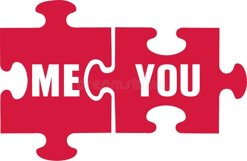 Puzzlespiel mit Ihnen und mir vektor abbildung
