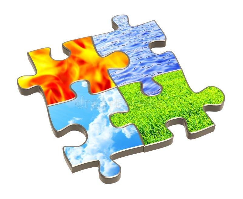 Puzzlespiel mit vier Elementen der Natur stock abbildung