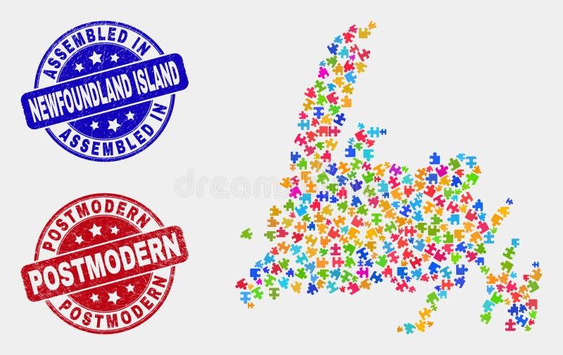 Puzzlespiel-Neufundland-Insel-Karte und die zusammengebauten und Postmodern Stempel beunruhigen lizenzfreie abbildung