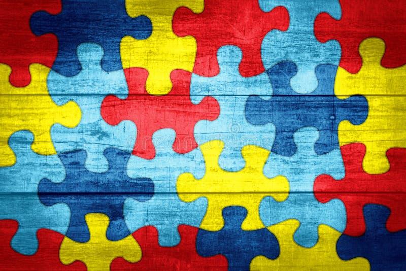 Puzzlespiel-Stücke im Autismus-Bewusstsein färbt Hintergrund-Illustration lizenzfreie abbildung