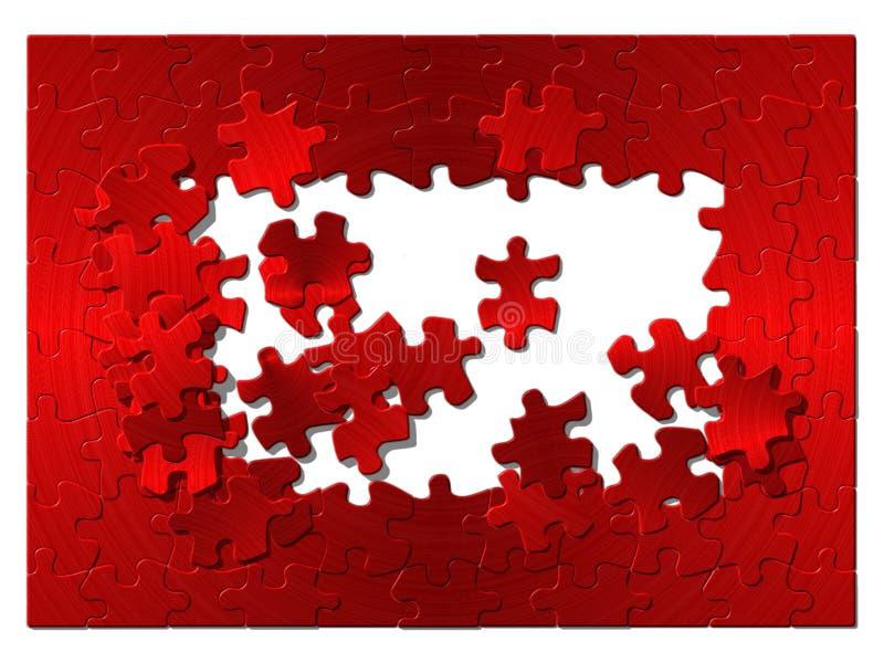 Puzzlespiel vom roten Metall. lizenzfreie stockbilder