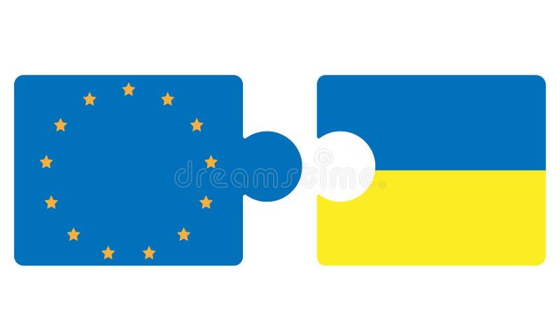 Puzzlespiel von Ukraine und von EU Konzept der Integration Ukraine in Europäische Gemeinschaft stock abbildung