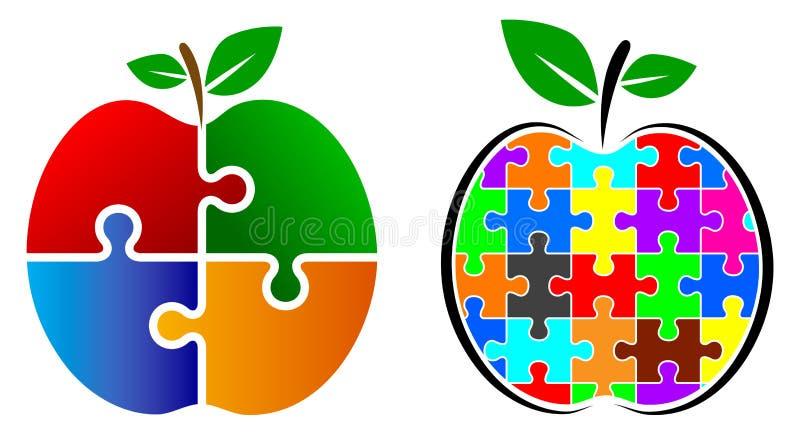 Puzzlespielapfellogo lizenzfreie abbildung
