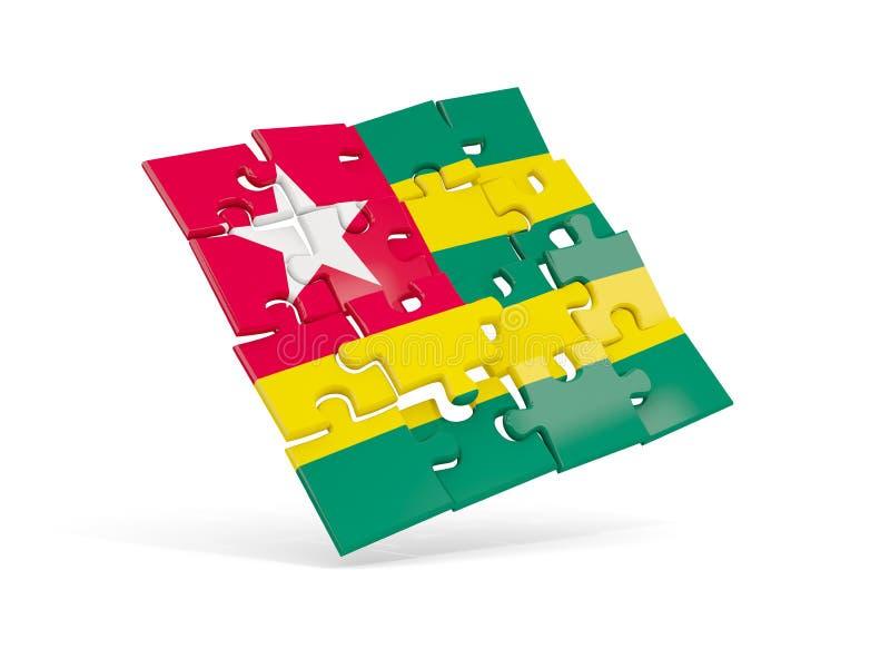 Puzzlespielflagge von Togo lokalisierte auf Weiß lizenzfreie abbildung