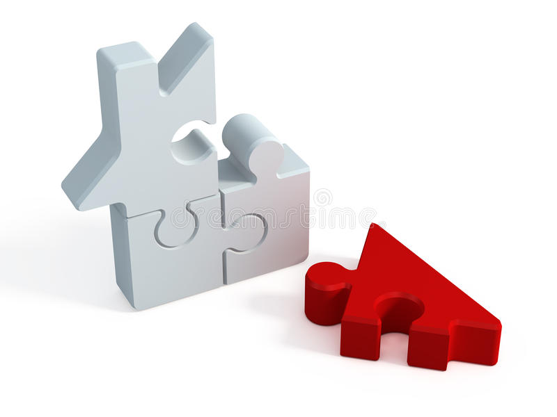 Puzzlespielhaus lizenzfreie abbildung