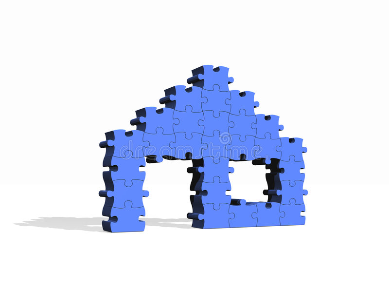 Puzzlespielhaus stock abbildung