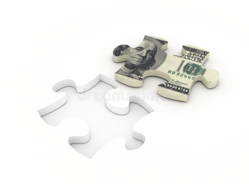 Puzzlespiellösung mit Dolar Bill stock abbildung