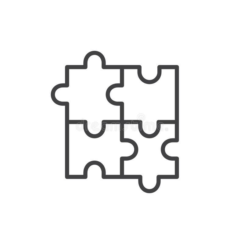 Puzzlespiellinie Ikone lizenzfreie abbildung
