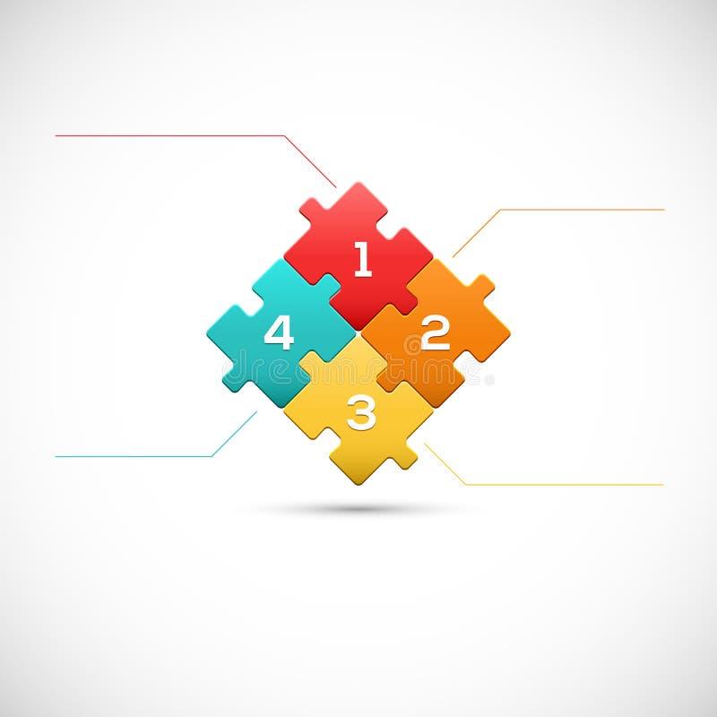 Puzzlespielstück 3D infographics Geschäftskonzept vektor abbildung