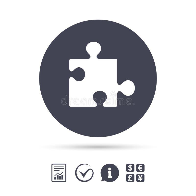 Puzzlespielstück-Zeichenikone Strategiesymbol stock abbildung