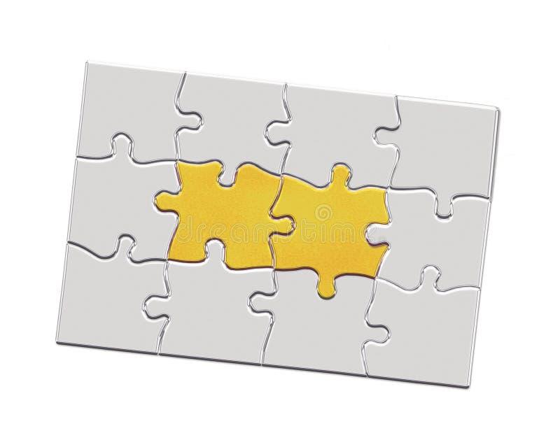 Puzzlespielstücke der Illustration 3d Metall lizenzfreie abbildung
