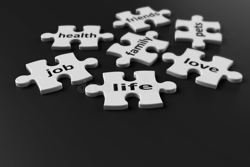 Puzzlespielstücke Leben lizenzfreie abbildung