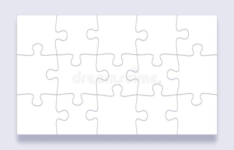 Puzzlespielstückgitter Zackige Fliesen, Sinnespuzzlespiele bessern und Laubsägendetails mit Schattengeschäftsdarstellungs-Rahmenv vektor abbildung